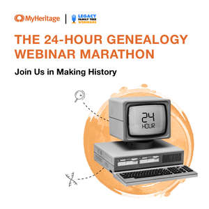 "Ankündigung ""The 24-Hour Genealogy Webinar Marathon"""